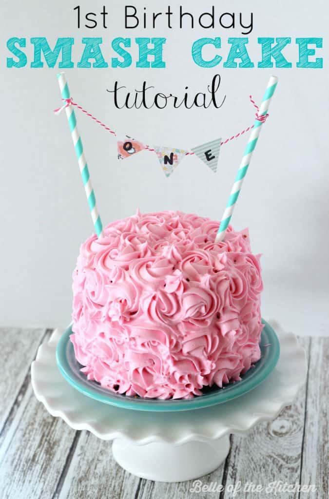 1st Birthday Smash Cake Tutorial Simple Vanilla Cake Recipe Belle Of The Kitchen