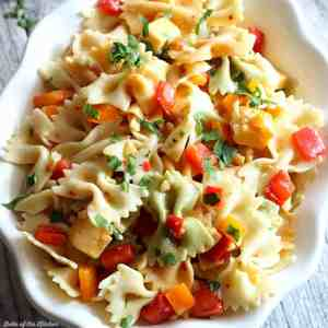 This Easy Pasta Salad is my go-to side dish! This is perfect for barbecues and get-togethers, too. Only 20 minutes to make!