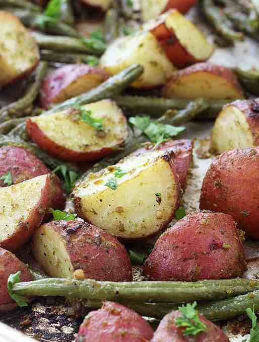 Pesto Roasted Potatoes and Green Beans