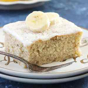 This Banana Cake with Vanilla Frosting is my favorite way to use up overripe bananas! So yummy and delicious!