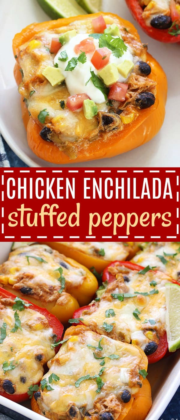 Chicken Enchilada Stuffed Peppers - a delicious, low carb dinner that is full of the Mexican flavors you love! Once you try this healthy twist, you won't even miss the tortillas!