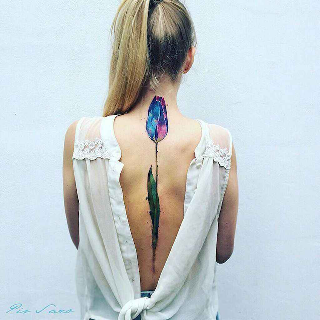 04 Cute and Tiny Tulip Tattoos Art Ideas for Women