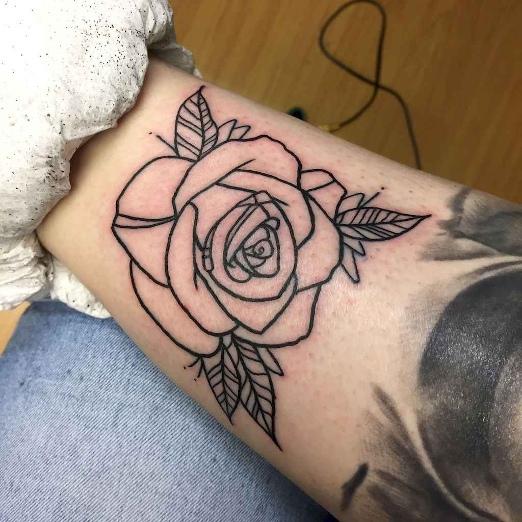 16 Traditional Rose Outline Tattoo Designs Ideas