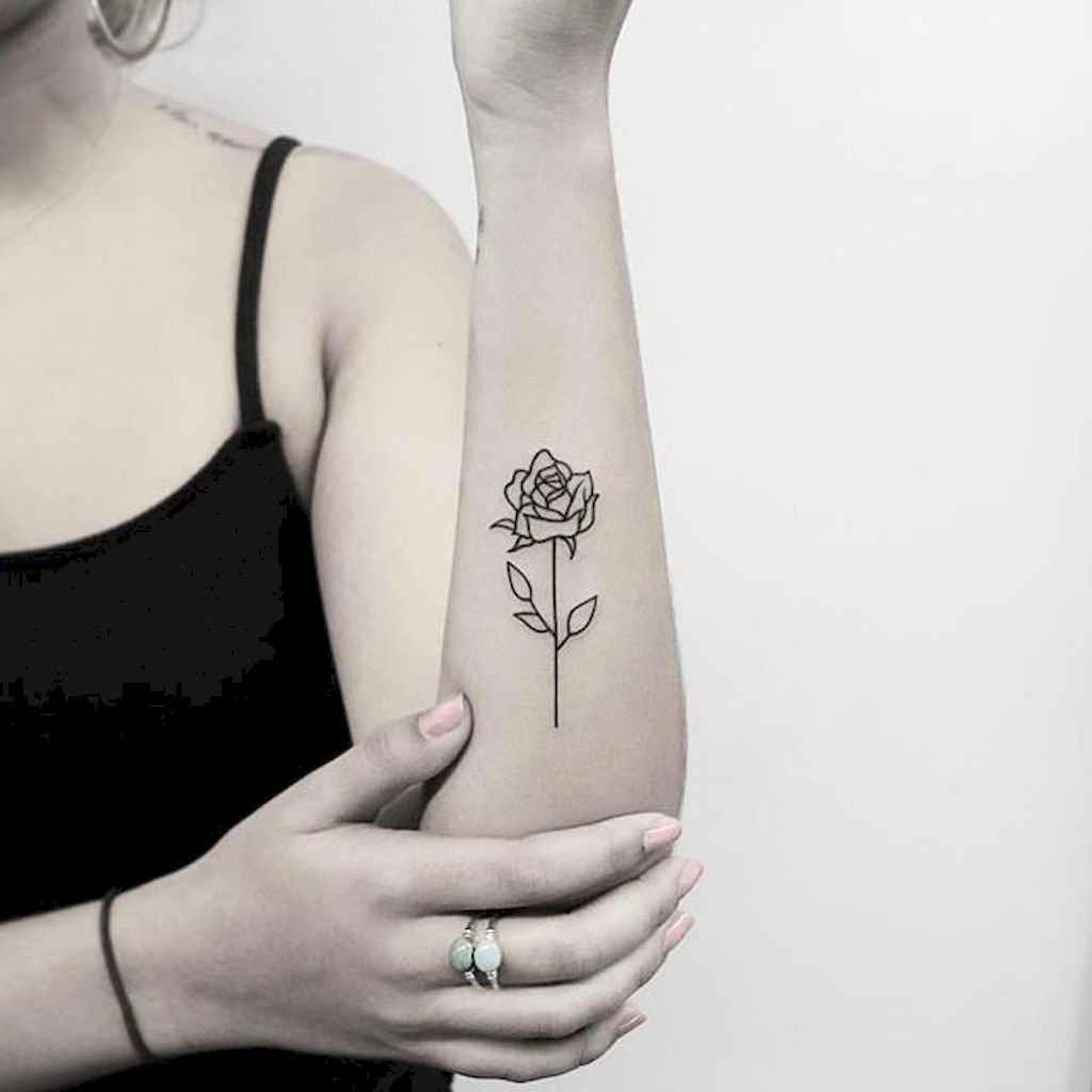 23 Traditional Rose Outline Tattoo Designs Ideas