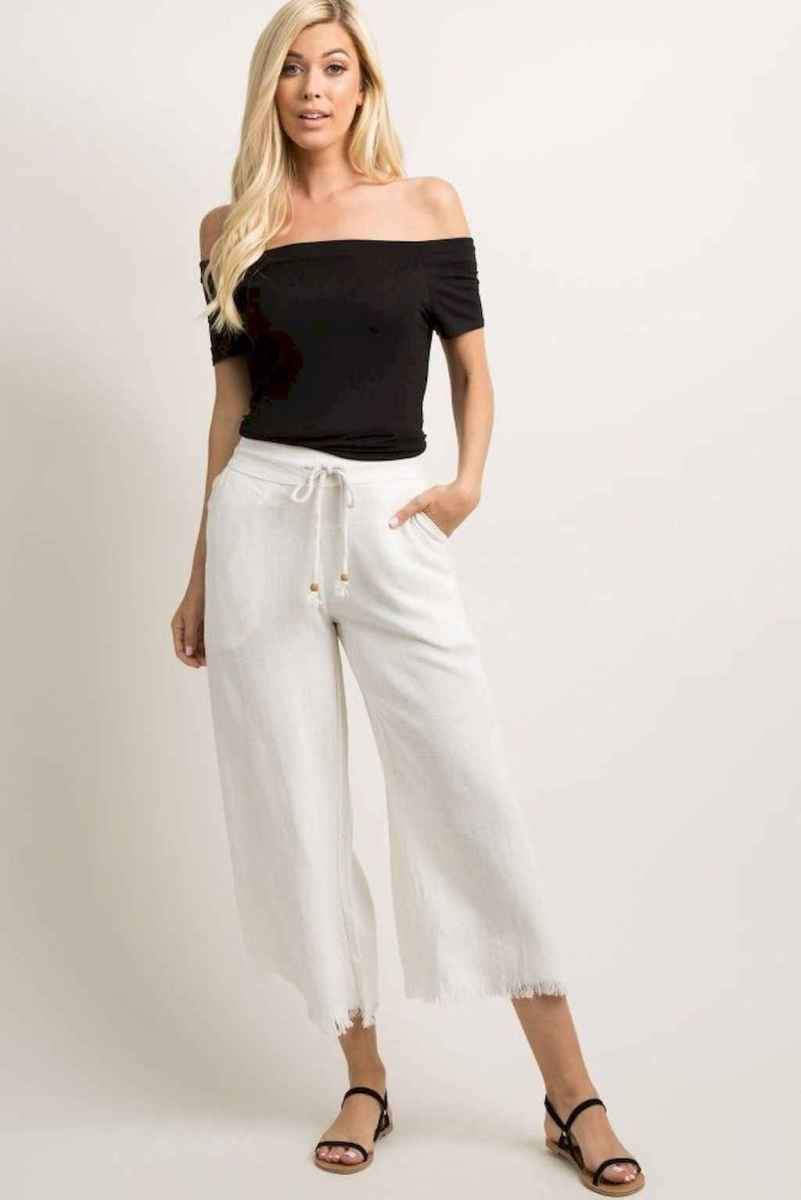 08 Summer White Linen Pants Outfit for Women