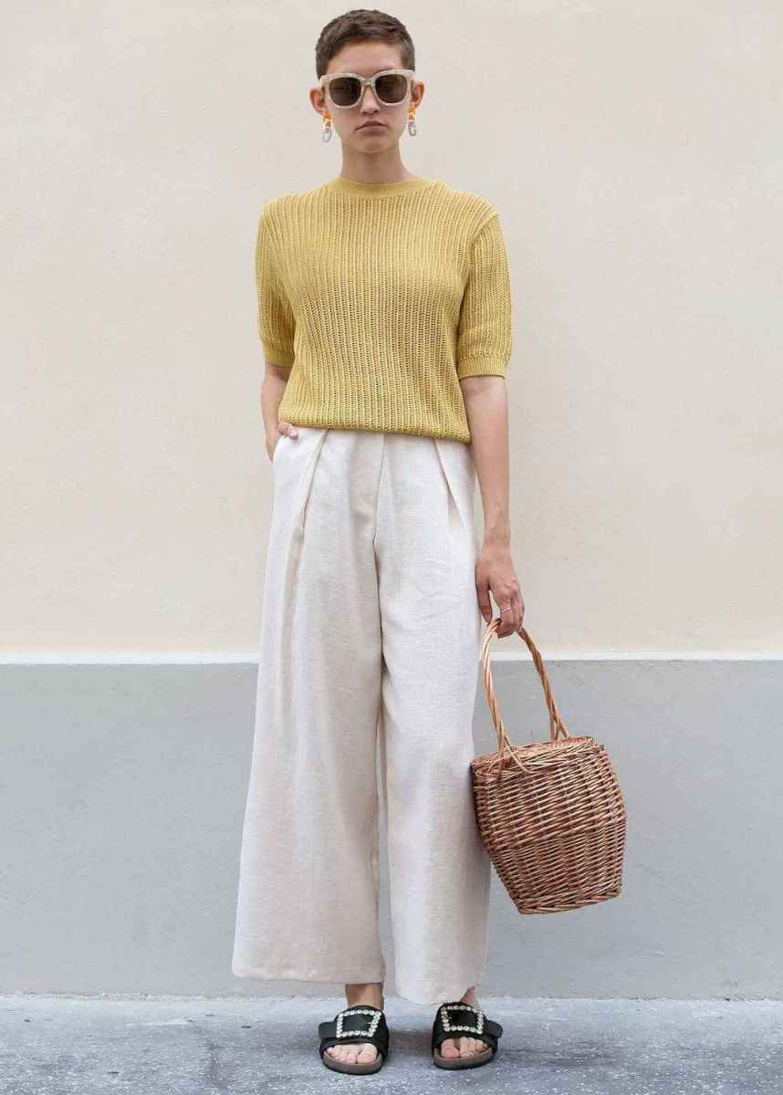 17 Elegant Beige Linen Pants Outfit Ideas