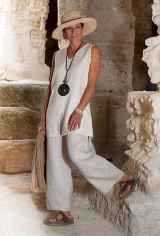 37 Summer White Linen Pants Outfit for Women