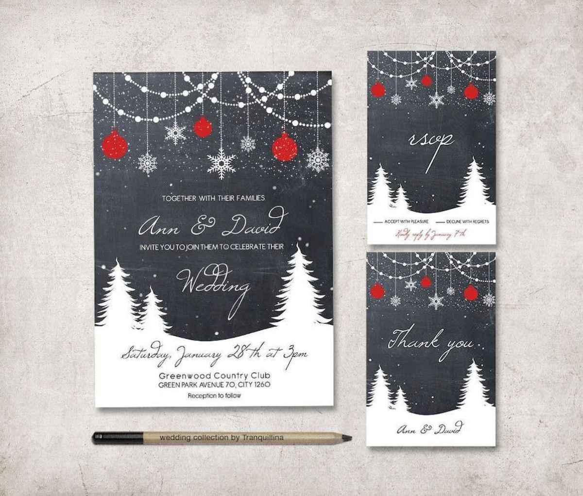 75 Elegant Christmas Wedding Invitations Ideas