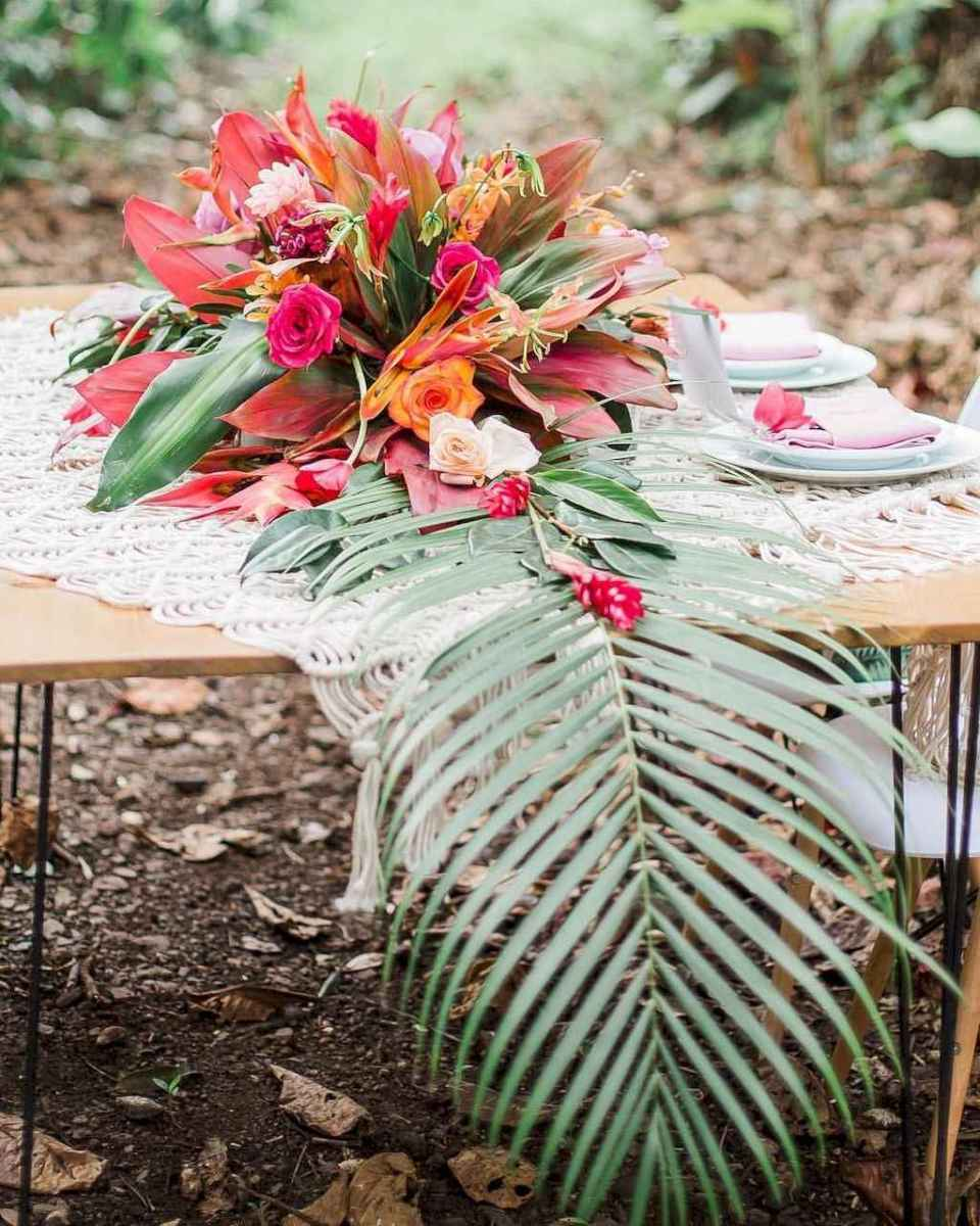 75 Romantic Tropical Wedding Ideas Reception Centerpiece