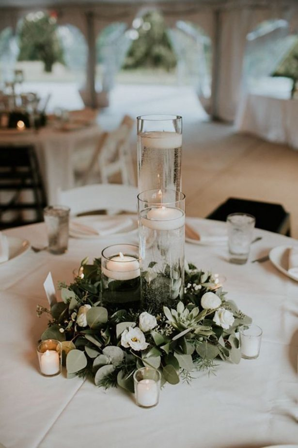 Greenery Wedding Centerpiece - Lauren Brooks Photography