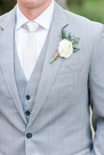Silver groom suit and tie - Luke & Ashley Photography
