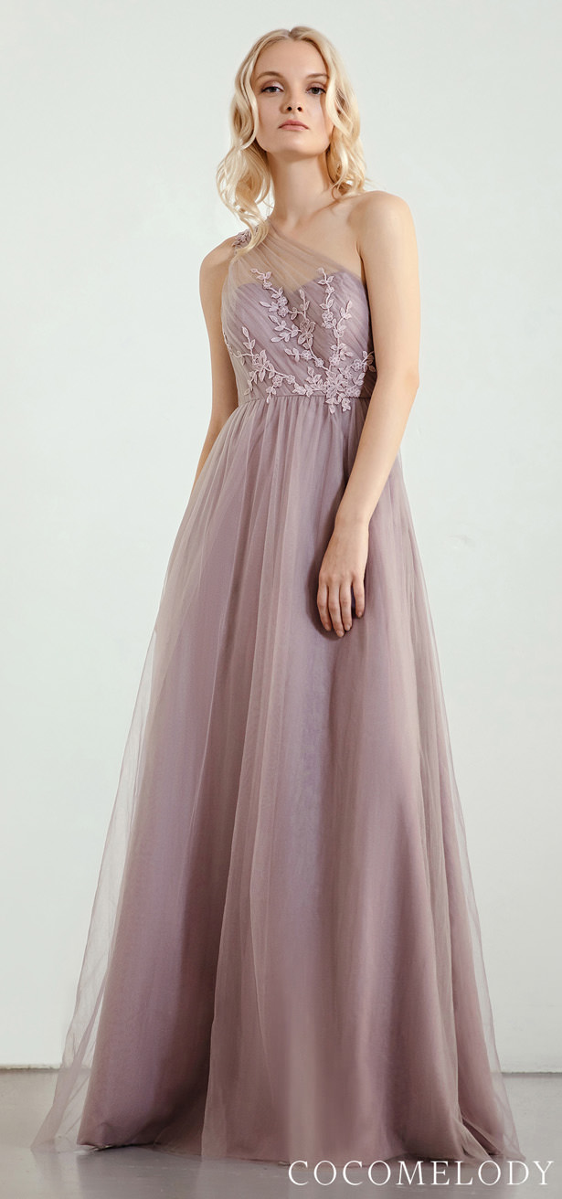 """One shoulder Bridesmaid Dress Trends by Cocomelody 2020 """"width ="""" 615 """"height ="""" 1312 """"data-pin-description ="""" Bridesmaid Dress Trends 2020 With Cocomelody 