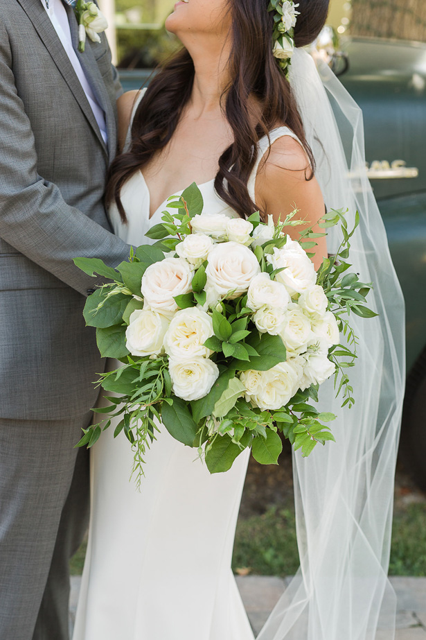 white rose wedding bouquet - Theresa Bridget Photography
