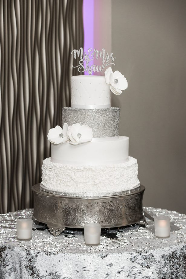 Glamorous White and Silver Metallic Wedding Cake - Lynne Reznick Photography