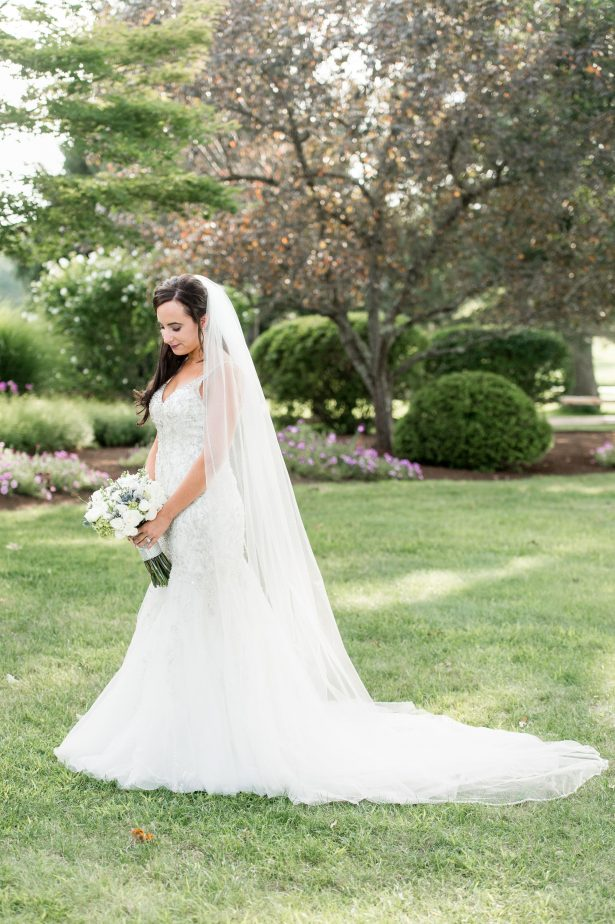 Sophisticated bride with shimmery mermaid wedding dress - Lynne Reznick Photography