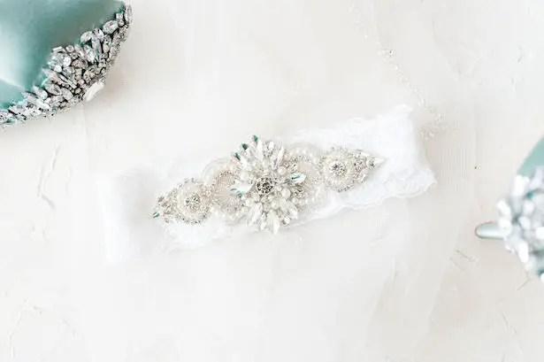 Wedding garterGlamorous blue wedding shoes - Lynne Reznick Photography