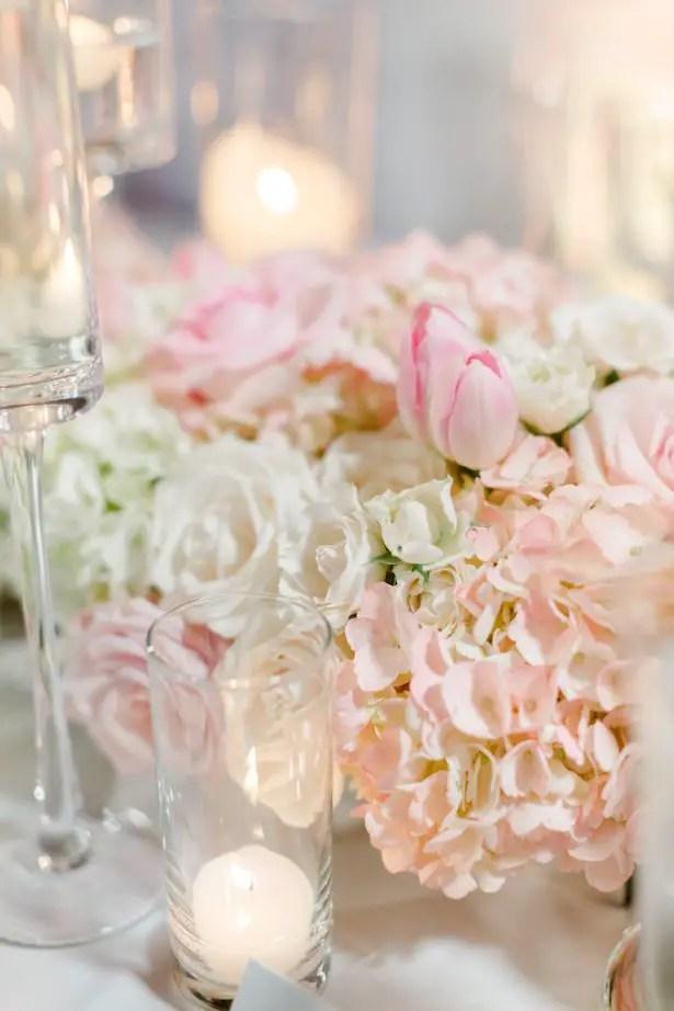 Low blush wedding centerpiece- Krystle Akin Photography