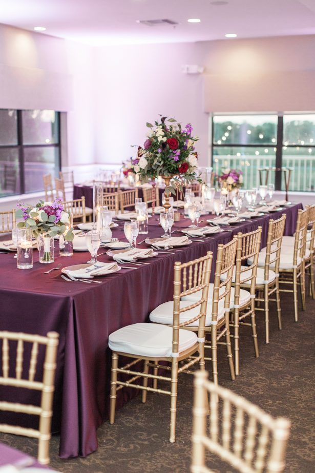 Purple and gold wedding tablescape- Photography: The Hendricks