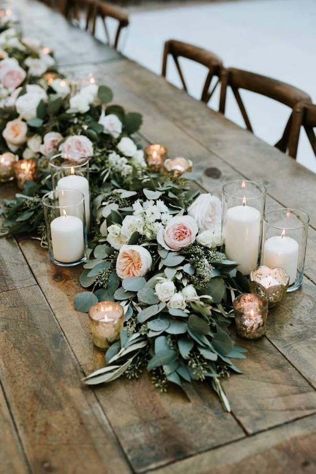 Greenery garland wedding centerpiece with flowers - Life in Bloom