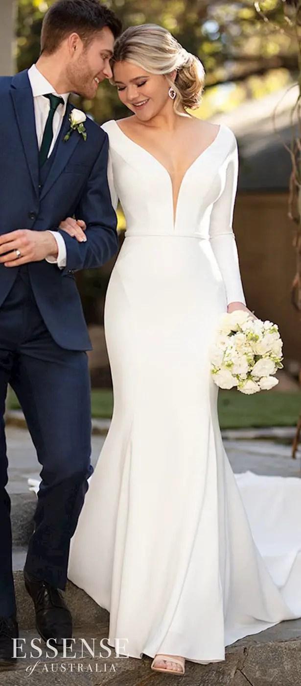 Long sleeves wedding dress - Essense of Australia Style D2972
