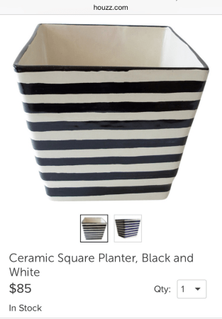 Black   White Striped Planter     Belling On A Budget     black and white flower pots for a while but all the ones I like are so  expensive  I love this one from houzz com but I wasn t going to spend  85  on an