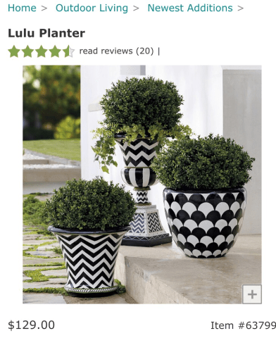 Black   White Striped Planter     Belling On A Budget I also love these fun chevron and scallop patterned pots but they are  ridiculously priced at  129 and  169
