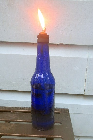 DIY - Bottle Tiki Torches - Beer bottle on table