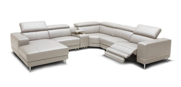 divani casa wade modern light grey leather sectional sofa w 2 electric recliners and console