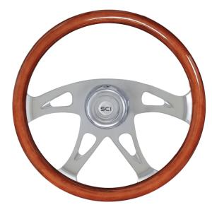 Bells-And-Whistles-Chrome-Shop-Trucks-Aftermarket-Accessories-Steering-Steering-Creations-Ace-Wood-Steering-Wheel-Peterbilt-Kenworth-Freightliner-Mack-Volvo-Lonestar