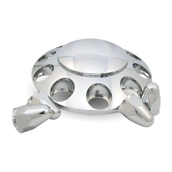 """Trux Accessories Chrome ABS Plastic Front Axle Cover Kit w/ Removable Center Cap & 1 1/2"""" Push-On Nut Covers"""
