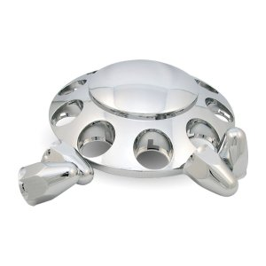 "Trux Accessories Chrome ABS Plastic Front Axle Cover Kit w/ Removable Center Cap & 1 1/2"" Push-On Nut Covers"