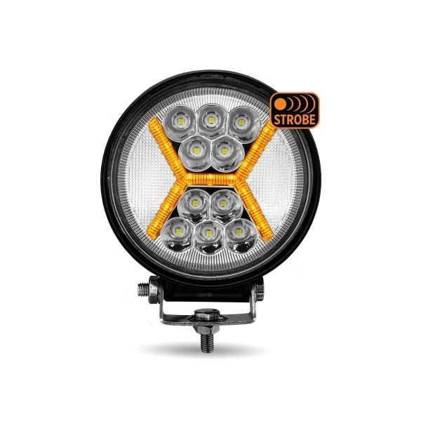 Bells-And-Whistles-Chrome-Shop-Trucks-Aftermarket-Accessories-Headlights-Trux-Accessories-4 ½-Universal-Round-Amber-X-Strobe-LED-Work-Lamp-Peterbilt-Kenworth-Freightliner-Mack-Volvo-Lonestar