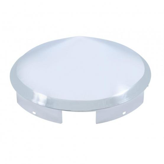 """United Pacific 5 Even Notched Chrome Pointed Front Hub Cap - 1"""" Lip"""