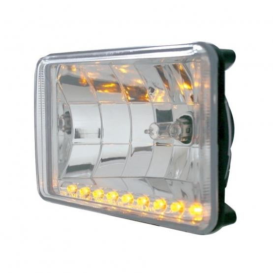 """United Pacific4"""" x 6"""" Crystal Headlight w/ 9 Amber LED Position Light"""