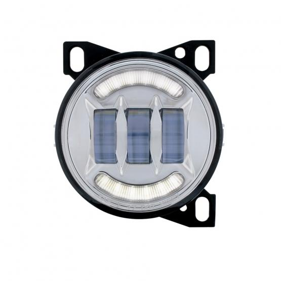 "United Pacific 4 1/4"" Chrome Round LED Fog Light with LED Position Light Bar - On"