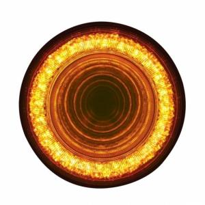 """United Pacific  4""""  Mirage Turn Signal Light - Amber LED/Clear Lens- On"""