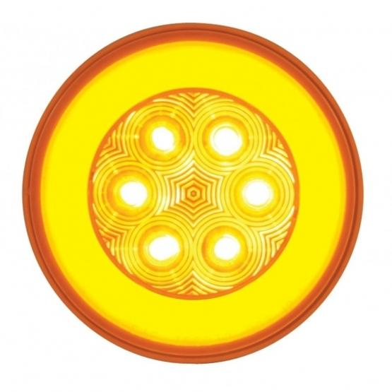 """United Pacific 4"""" GLO Turn Signal Light- Amber/Amber- On"""