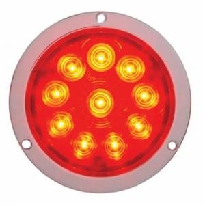 "United Pacific 10"" LED 4"" Deep Dish Stop, Turn, & Tail Light- Red LED/Red Lens- On"