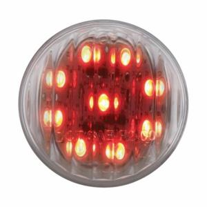 Bells-And-Whistles-Chrome-Shop-Trucks-Aftermarket-Accessories-Lighting-United Pacific-Red LED Clear Lens 2 Inch Marker Light-Peterbilt-Kenworth-Freightliner-Mack-Volvo-Lonestar