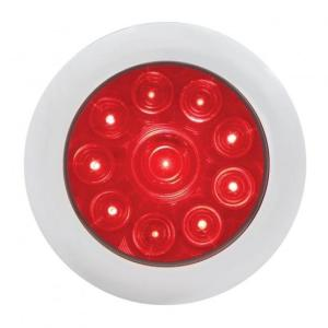 """United Pacific 10 LED 4"""" Stop, Turn, & Tail Light with Bezel- Red LED/Red Lens - On"""