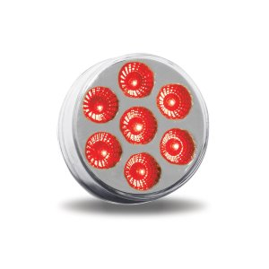 "Trux Accessories 2"" Round Clear Red LED Marker Light- On"