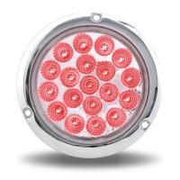 "Trux Accessories 4"" Red Stop, Turn & Tail to Green Auxiliary LED Light with Flange Mount - Red"