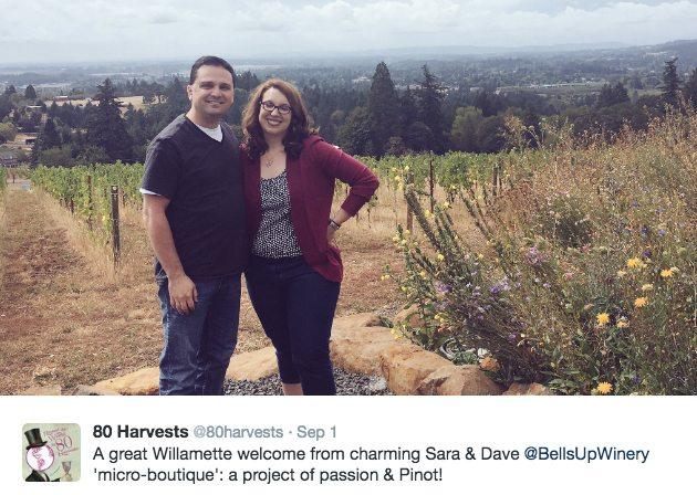 Around the World in 80 Harvests TWEET to Bells Up Winery.