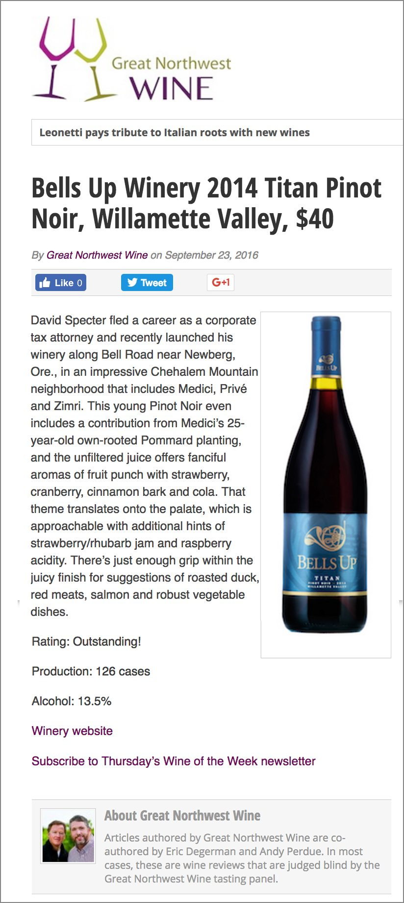 Review of Bells Up's 2014 Titan Pinot Noir from Great Northwest Wine.