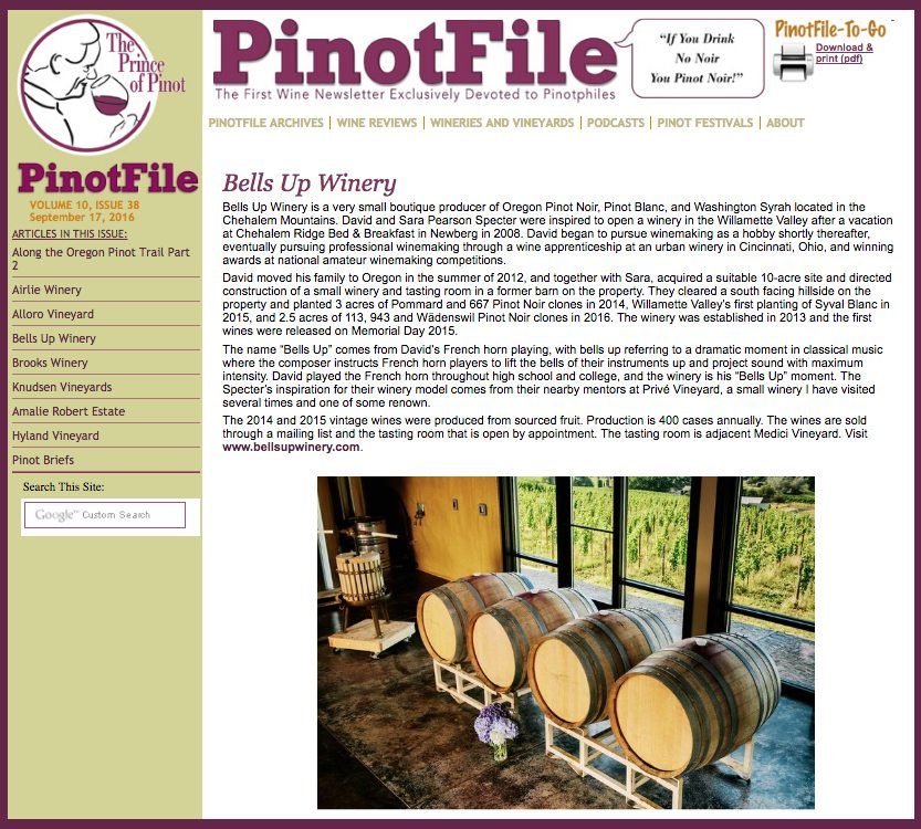 Prince of Pinot reviews Bells Up's wines.