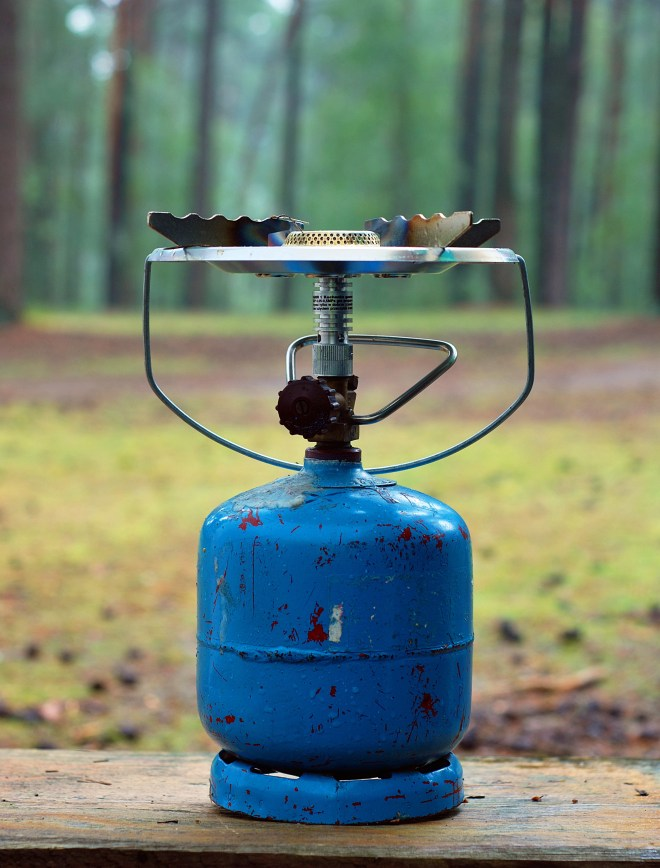 Gas cylinder on camping holiday