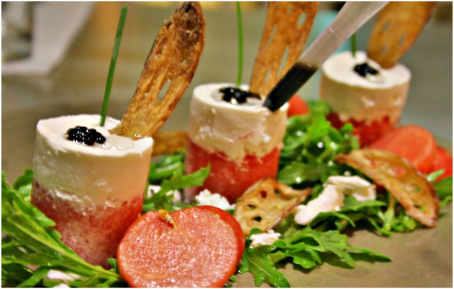 Watermelon and Feta Cheese Salad with Balsamic Dropper and Lotus Stem Chips