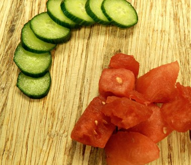 watermelon cubes and cucumber slices