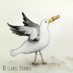 Der Flaschengeist (Detail Möwe) - Illustration von Isabel Dehmel