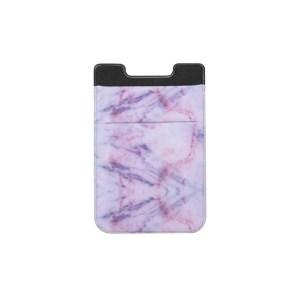 Marmeren patroon weg stretch telefoon terug plastic kaarthouder Sticky telefoon clip (paars)